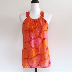 Ann Taylor Tank Top 6 Pleated Printed Orange Pink